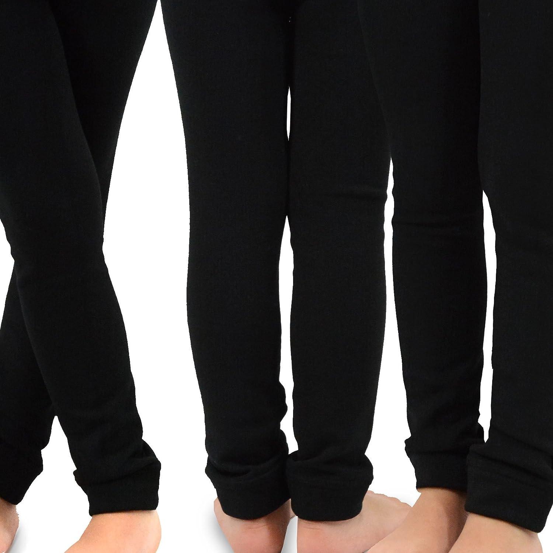 Amazon.com: TeeHee Kids Girls Fleece Inner Brushed Leggings 3 Pack ...