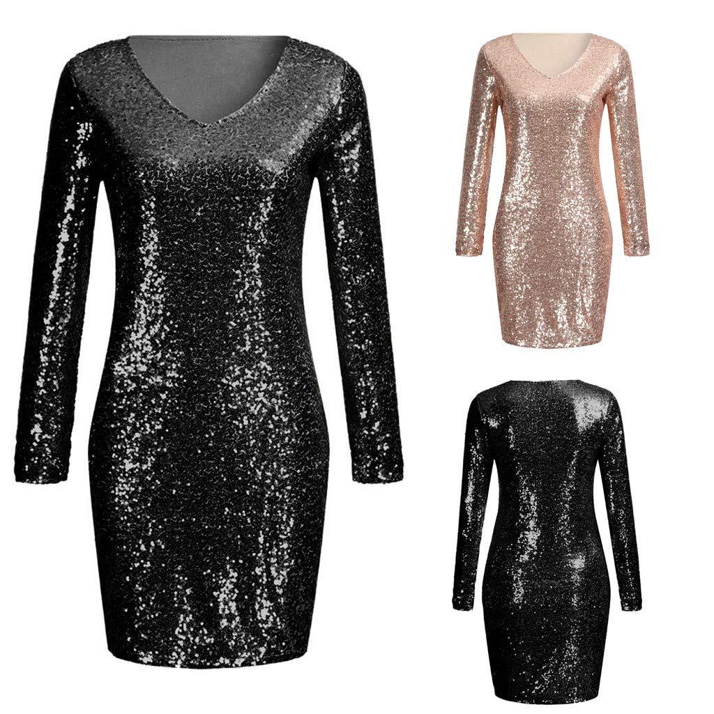 c7e2ef2174 XUANOU Ladies Sparkle Glitzy Glam Sequin V-Neck Sleeveless Party Club Mini  Sexy Dress Rose Gold