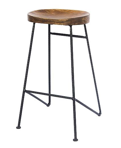 Groovy Amazon Com The Urban Port Upt 183797 Mango Wood Saddle Seat Customarchery Wood Chair Design Ideas Customarcherynet