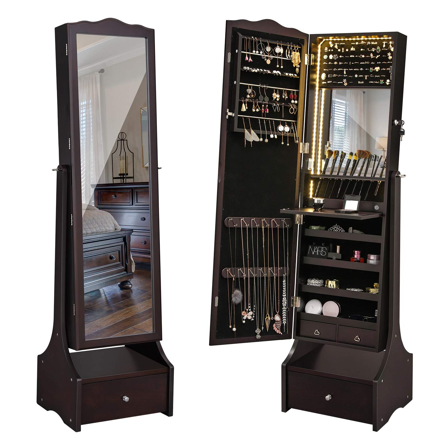 SONGMICS LED Jewelry Cabinet Lockable Jewelry Armoire with Full Length Mirror, Makeup Tray and Large Drawer Base Brown Patented Mother's Day Gift UJJC87BR by SONGMICS (Image #9)