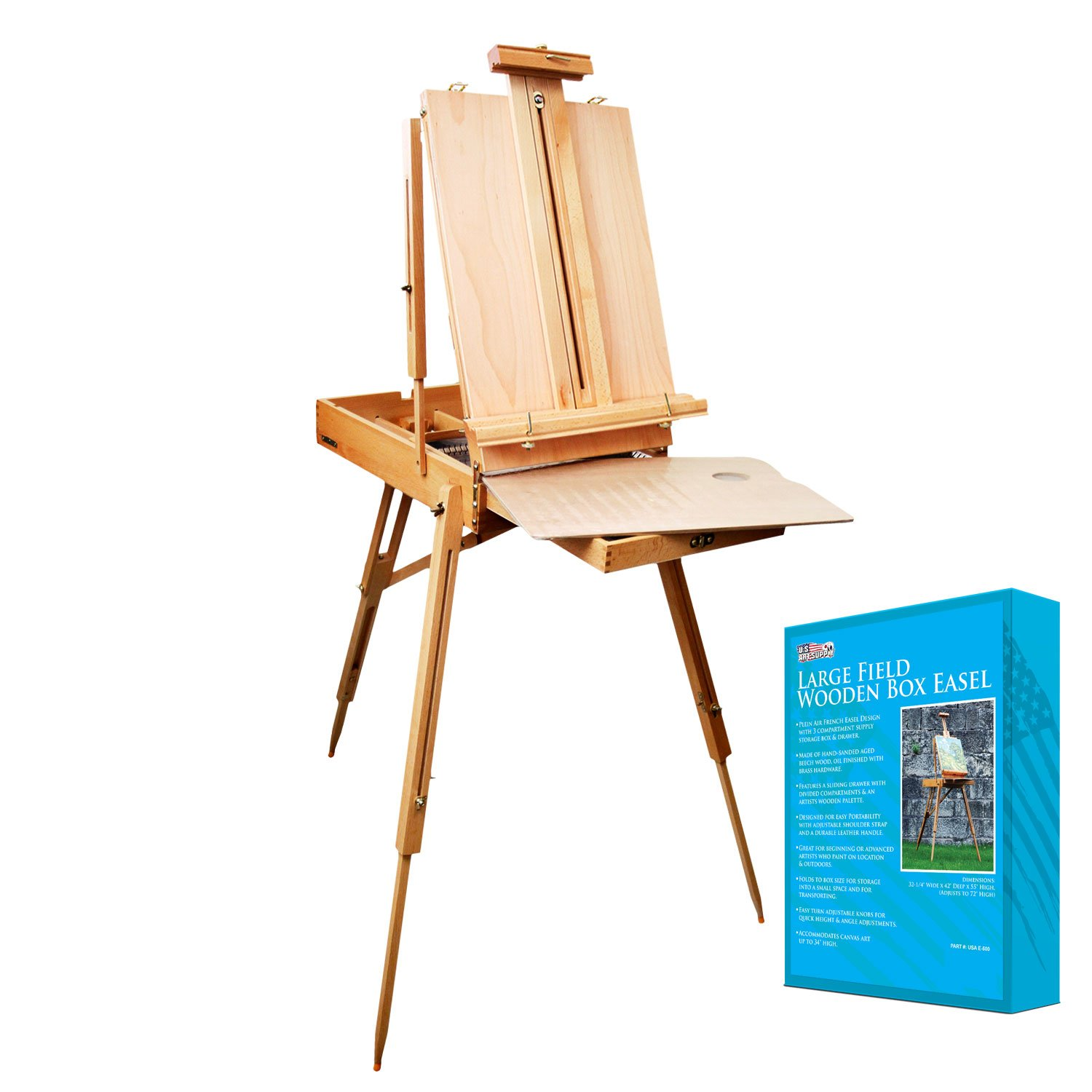 U.S. Art Supply Coronado French Style Easel & Sketchbox with 12'' Drawer, Wooden Pallete & Shoulder Strap