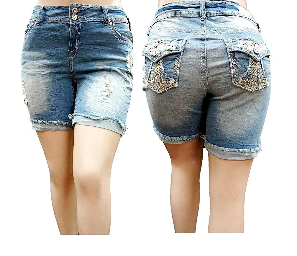 Jack David Womens Plus Size Short Stretch Distressed Ripped Acid Wash Blue Denim Jeans (24)