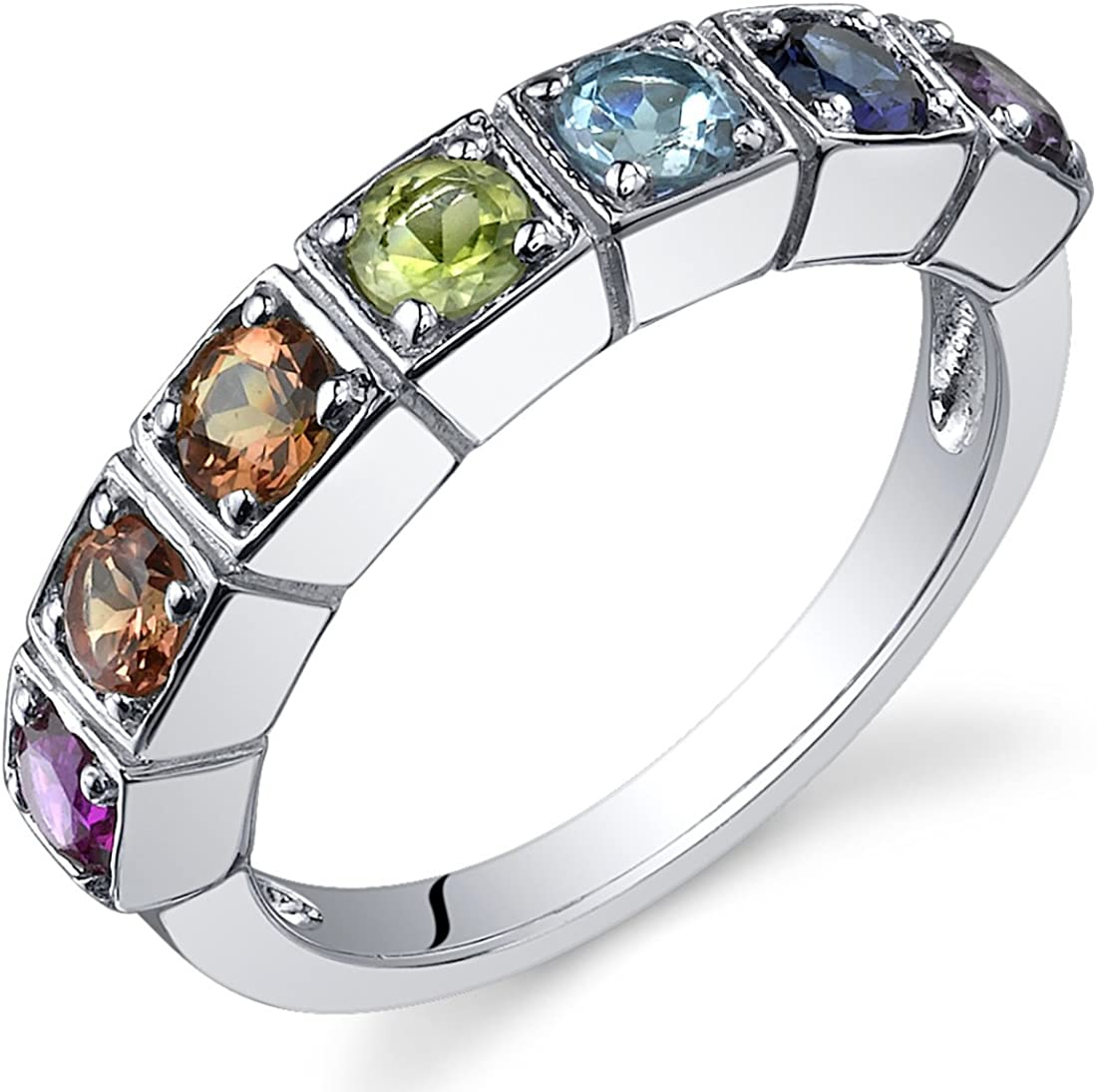 Mens Sapphire Ring with Side Diamonds Multi-colors 925 Sterling Silver Open End