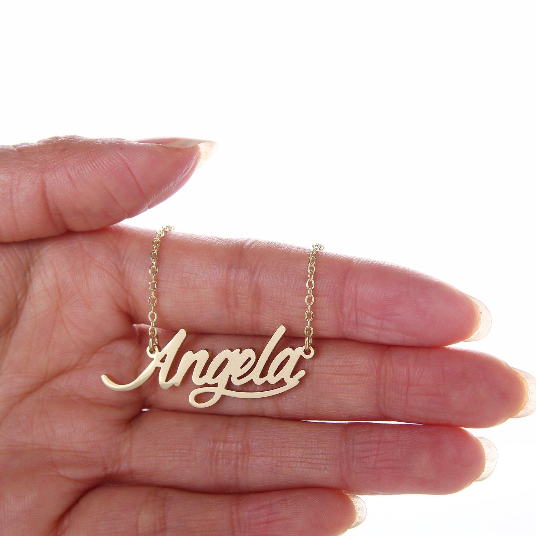 Amazon AOLO Delicate Cursive Womens Name Necklace Angela Jewelry