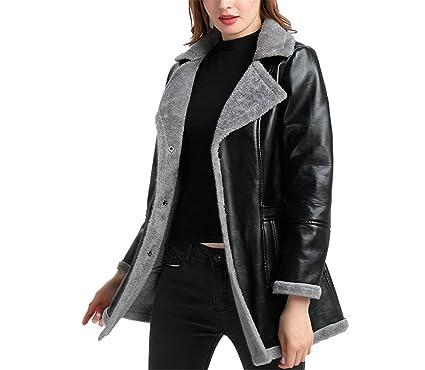 a4fe0532951c Jeff Tribble Faux Leather Coat For Women Faux Fur Coat Winter Leather Jacket  Black Plus Size