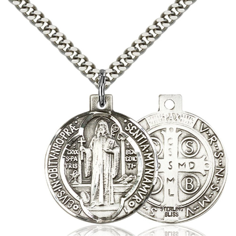 Sterling Silver St. Benedict Pendant 1 x 7/8 inches with Heavy Curb Chain