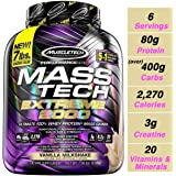 Muscletech Performance Series Mass Tech Extreme 2000 (Post-Workout, 80g Protein, Over 400g Carbs, 2270 Calories) - 7 lbs (3.18 kg) (Vanilla Milkshake)