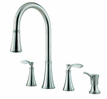 Pfister Petaluma 2 Handle Pull Down Kitchen Faucet With Soap Dispenser,  Stainless Steel