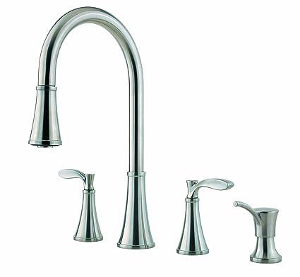 Merveilleux Pfister Petaluma 2 Handle Pull Down Kitchen Faucet With Soap Dispenser,  Stainless Steel