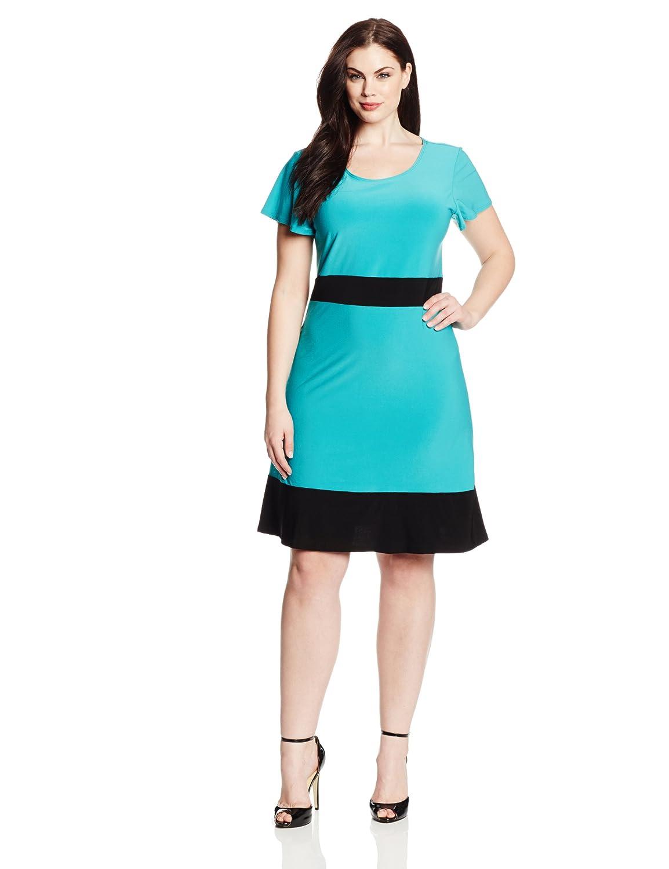 Star Vixen Women's Plus-Size Colorblock Short Sleeve Skater Dress Star Vixen Child Code 3527-IT-X