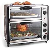oneConcept All-You-Can-Eat horno doble con parrilla (2400W, capacidad 42 litros, parrilla en la parte superior, temperatura ajustable, pincho giratorio, acero inoxidable) - plateado