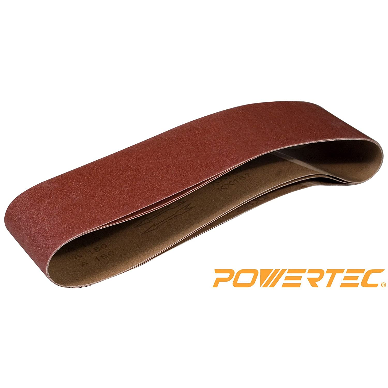 POWERTEC 110213 6 x 48-Inch Sanding Belts | 120 Grit Aluminum Oxide Sanding Belt | Premium Sandpaper For Portable Belt Sander – 3 Pack