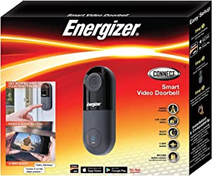Energizer Connect Smart 1080p HD Video Security Doorbell, 2-Way audio with Cloud Storage and Remote Access Through Your Smartphone via iOS and Android App, Requires Existing Doorbell Wires