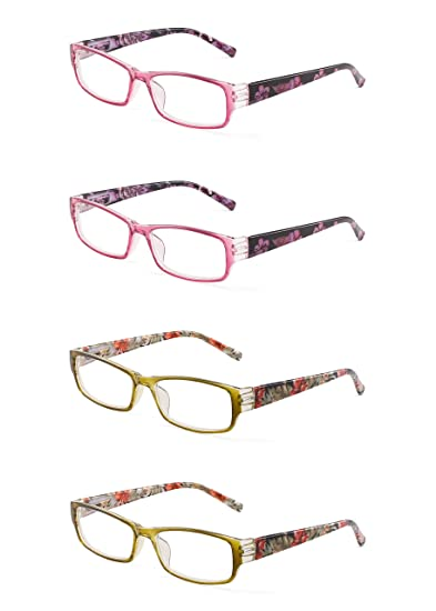 d98ca1ec2fd Image Unavailable. Image not available for. Color  JM 4 Pack Ladies Reading  Glasses Spring Hinge Fashion Floral Readers for Women ...