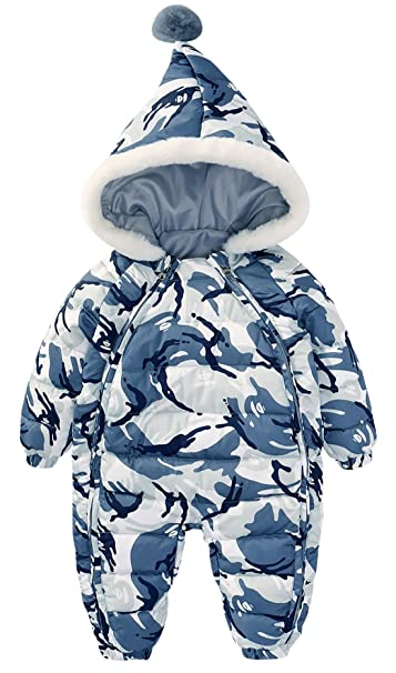 39af1da03 Toddler Unisex Baby Winter Down Long Sleeve Zipped Hooded Snowsuit Romper  Bodysuit Climbing Clotes 18-