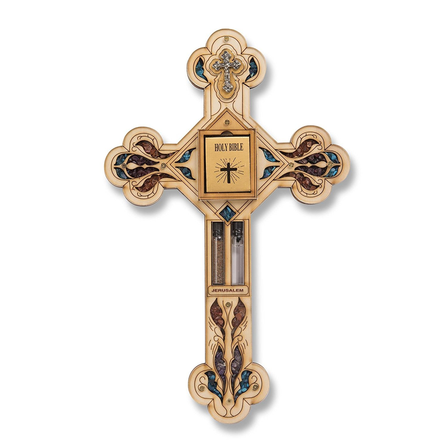 29cm Wooden Cross Jesus Christ Holy Bible Holy Water Earth Wall Hanging Gift Anandashop 001x-MTL830M-6