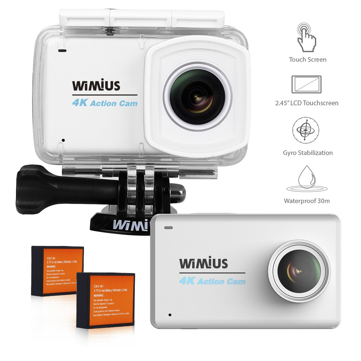 WiMiUS Touchscreen Action Camera 4K 2.45'' LCD Touch Screen 16MP 1080P 30M Underwater Cameras Wifi Waterproof Cam Sports Camcorder 170° Wide-Angle Lens Helmet Camera with Accessories Kit, L3 Silver by WiMiUS