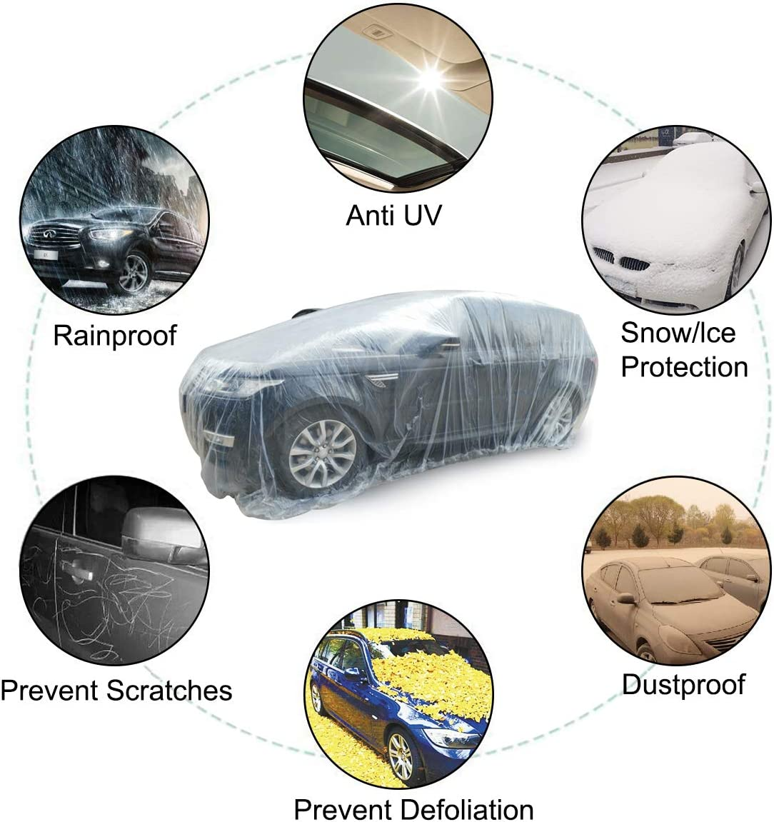 AutoRocking PE Full Car Cover Waterproof Dustproof Scratch-Proof Windproof Disposable Car Covers Garage Cover Universal Fit for Hatchback Sedan Off-Road SUV