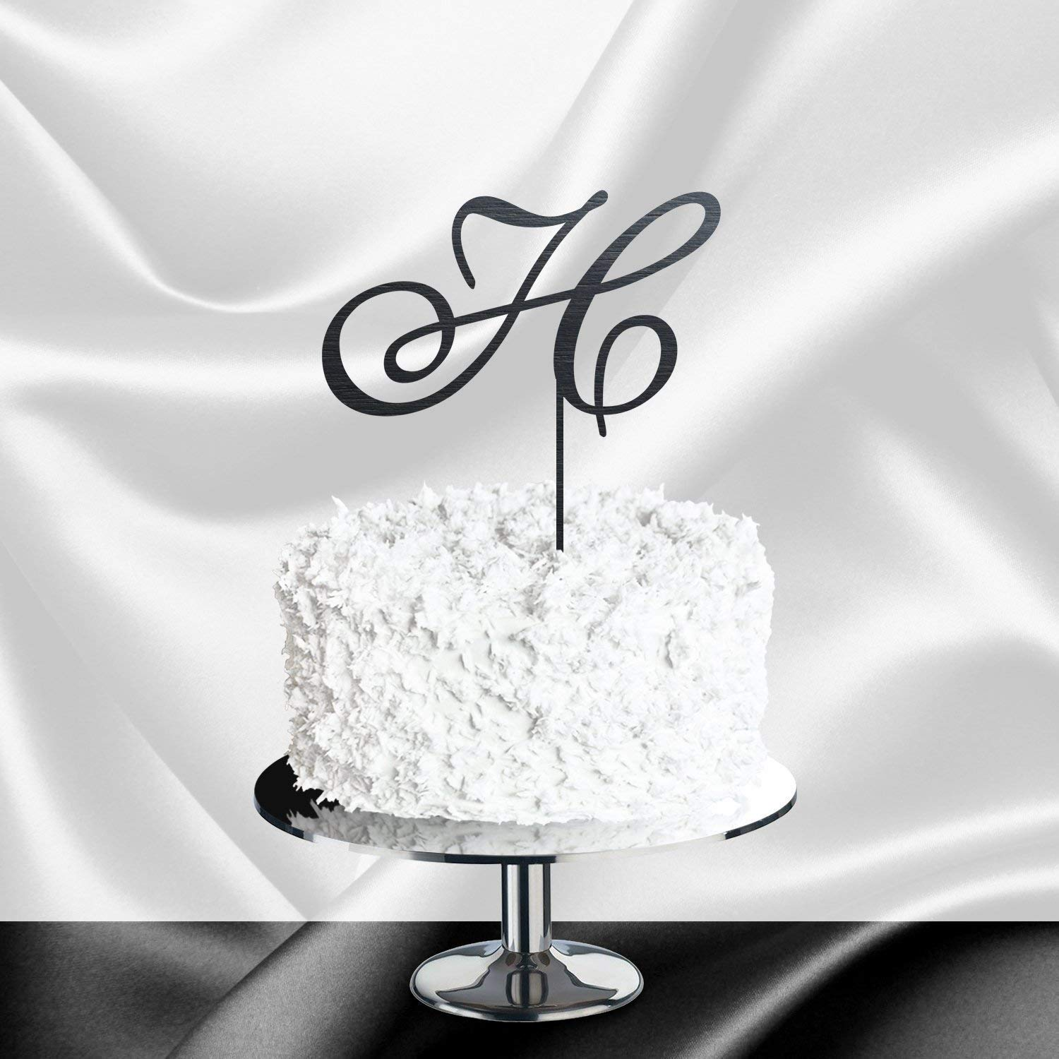 Personalized Cake Topper Gold Letter Cake Topper Wedding Cake Topper Letter H Initial Cake Topper for Wedding Monogram Cake Topper