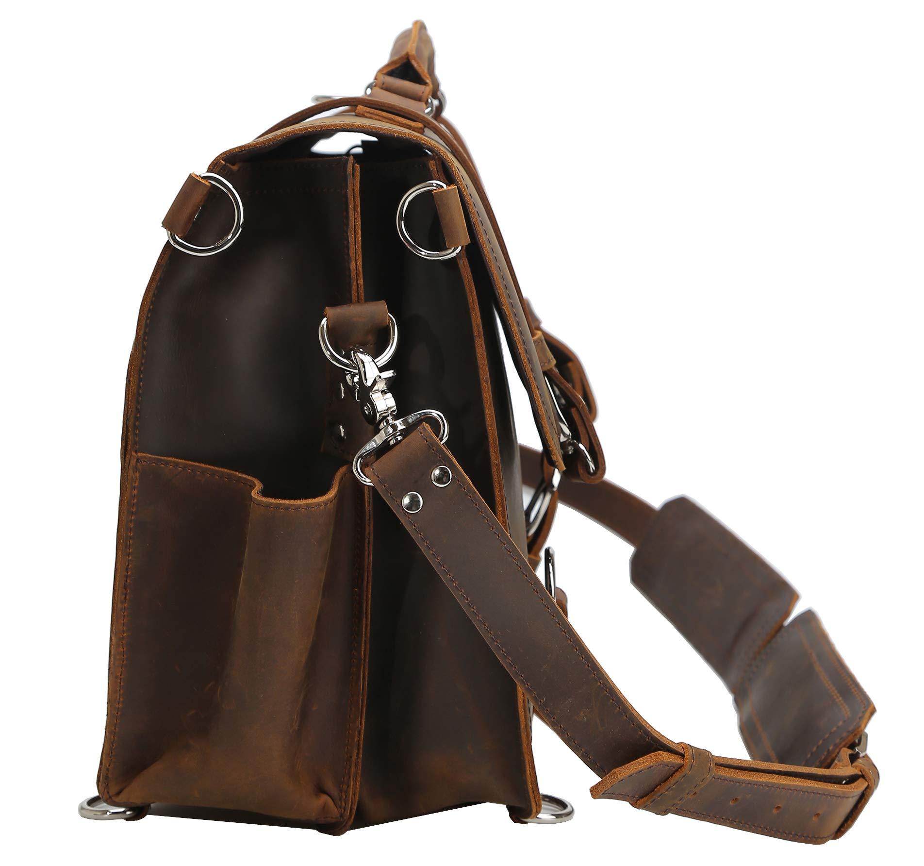 Polare Men's Full Grain Leather 16'' Laptop Briefcase Shoulder Messenger Bag by Polare (Image #5)