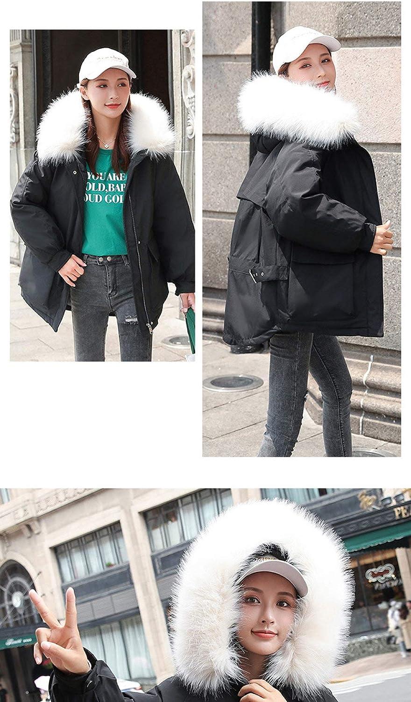 EIJFKNC Blousons Veste d'hiver Femme Version coréenne avec Veste épaisse et Courte Veste Ample en Coton d'hiver Noir