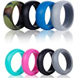 SYOURSELF Silicone Wedding Ring Band for Men or Women-4 Pack-Safe Flexible Comfortable Medical Grade Love Rings Set- Fit for Sports & Outdoors, Workout, Fitness, Athletes, Engineers+Gift Box