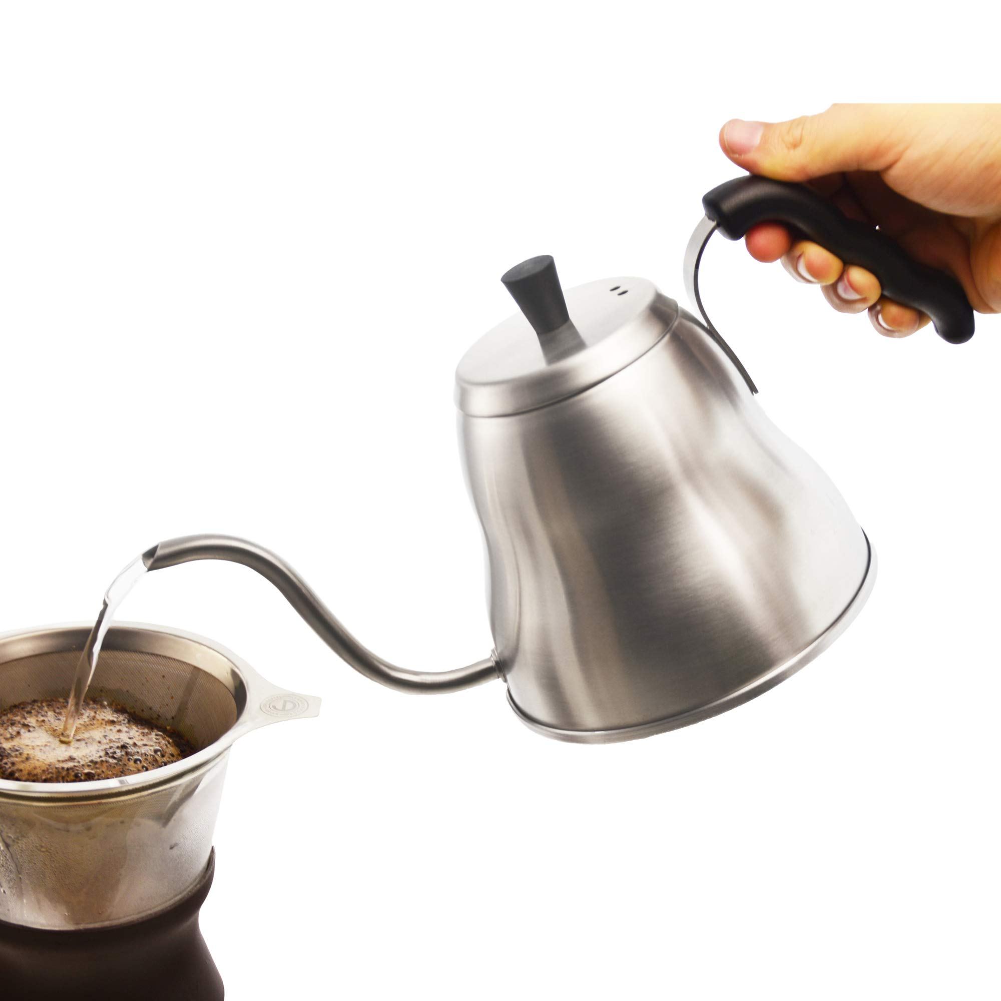 GROSCHE Marrakesh Gooseneck Pour Over Kettle for Stove top Use for pour over coffee or coffee dripper. 1 liter 34 fl. oz capacity. 18/8 Stainless Steel. Perfect Pour control and safe for all stovetops by GROSCHE