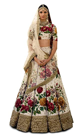 0f098299a3 Ardhangini Vastram Bridal Collection Fine Art Silk Lehenga choli for women( CREAM, Free size, zcp_7019_CREAM): Amazon.in: Clothing & Accessories