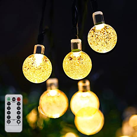 Outdoor String Lights, Globe String Lights Battery Operated With Remote For  Bedroom, Famirosa Crystal
