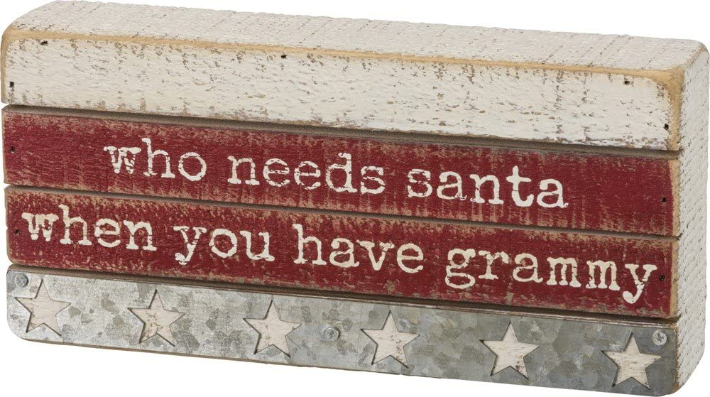 Primitives by Kathy Slatted 8.50 inches x 4 inches Box Sign Grammy Fun Christmas Decor