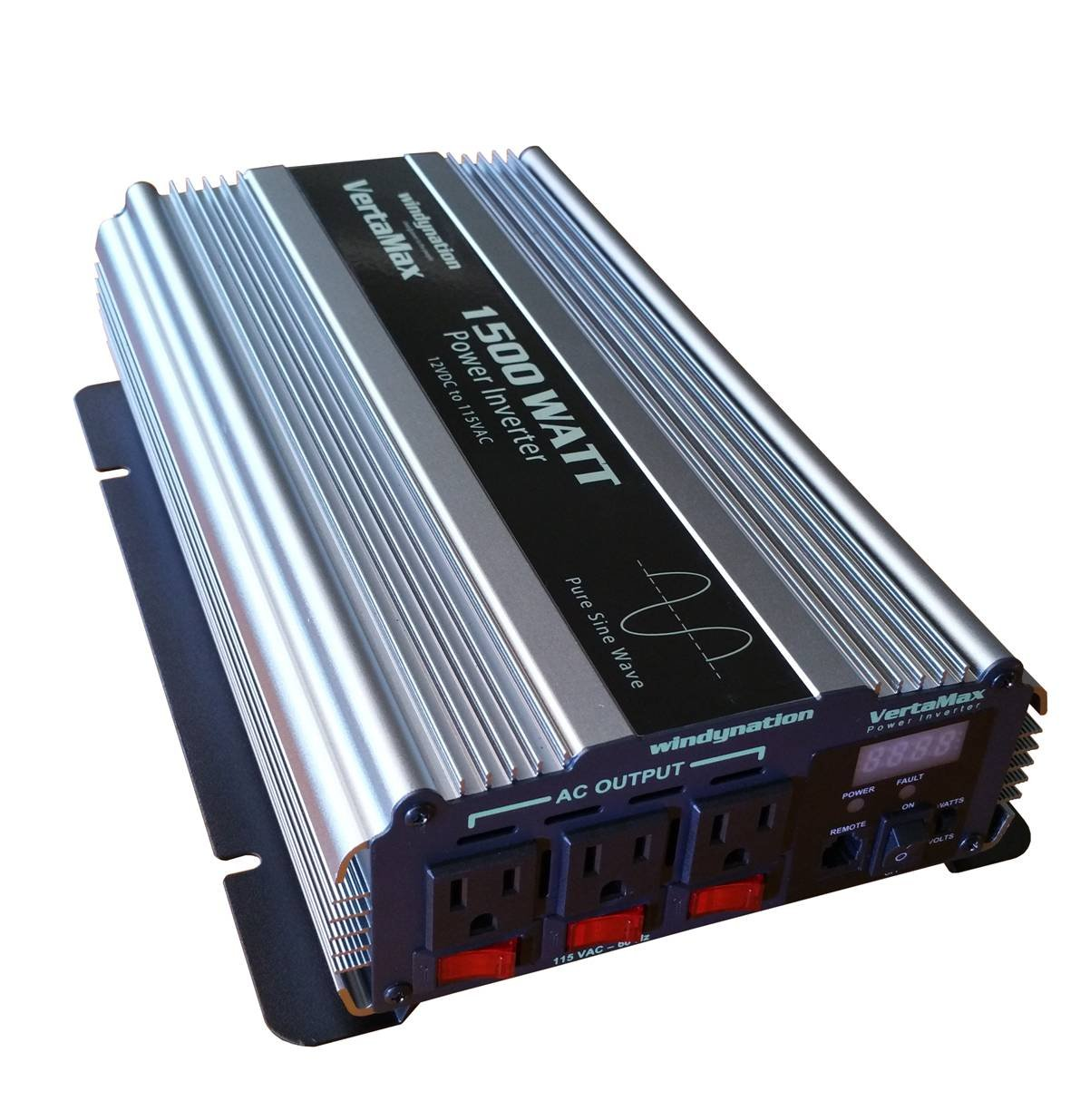 VertaMax PURE SINE WAVE 1500 Watt (3000W Surge) 12V Power Inverter DC to 115 AC Car, Solar, Off-Grid, RV, Back Up Power