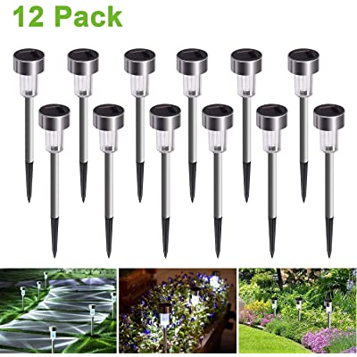 JuguHoovi Solar Garden Lights Outdoor, 12 Pack Waterproof Solar Powered Outdoor Yard Lights Outdoor Solar Path Lights Landscape Path Lights for Walkway Solar Outdoor Lights : Garden & Outdoor