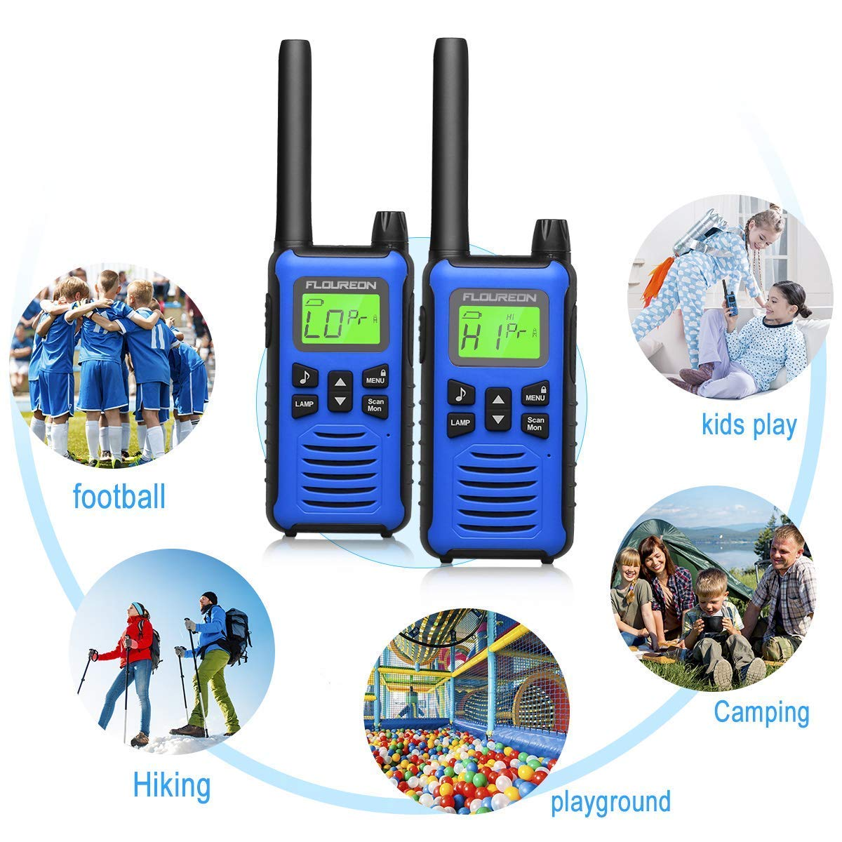 2 Pack Walkie Talkies for Kids FLOUREON Long Range Two Way Radio 22 Channel 3000M (MAX 5000M) USB Cable Charging Walkie Talkies for Outdoor Adventures Camping Hiking(Blue)