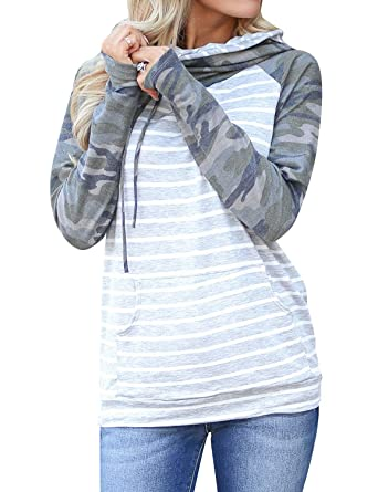 6bb7a2a1756e5 Nlife Women Hooded Camouflage Long Sleeve Sweatshirts Striped Spliced  Hoodies Tops Blosue at Amazon Women's Clothing store:
