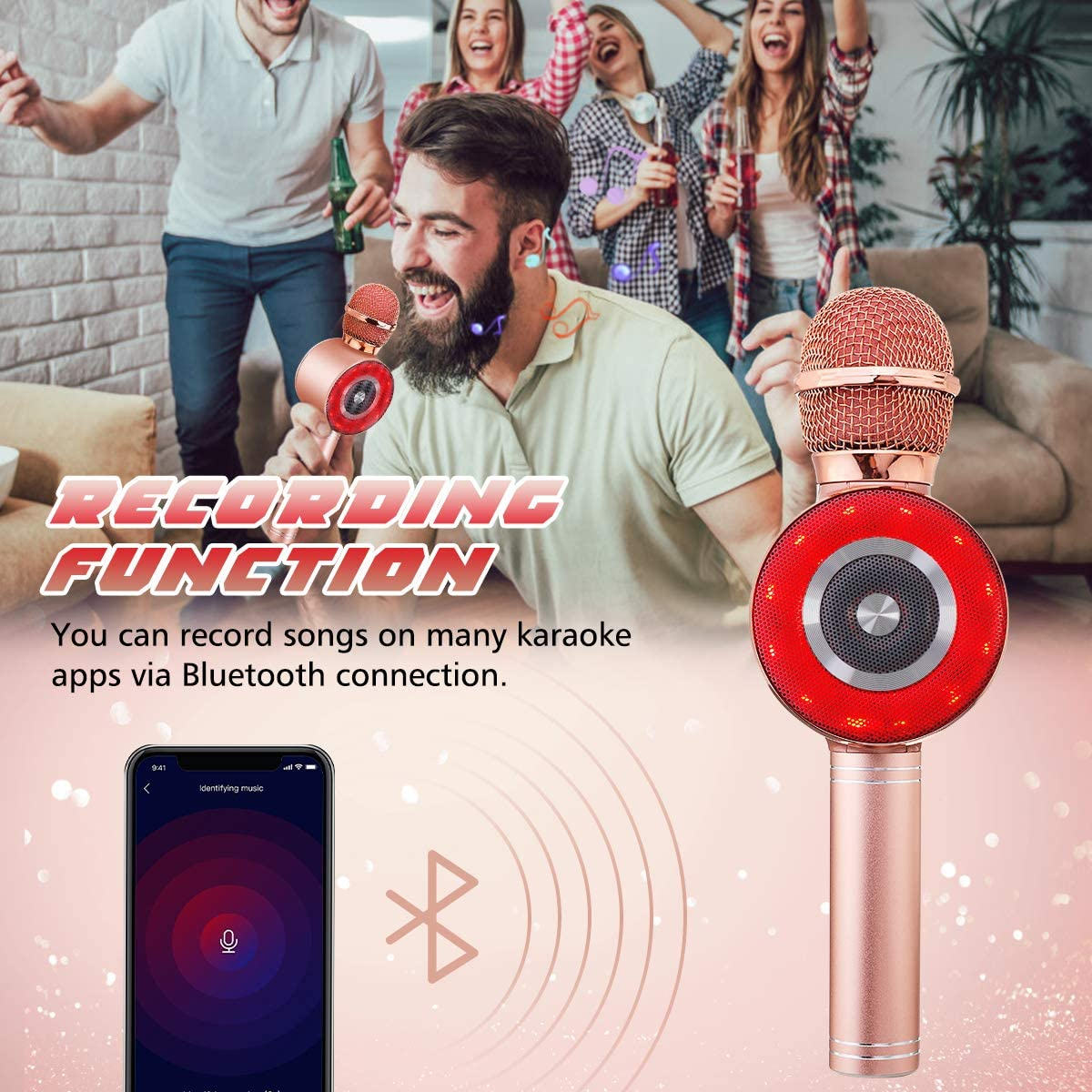 Christmas Birthday Home Party for Android//iPhone,Best Gift Singing Toy for Kid Rose Gold 3-in-1 Bluetooth Karaoke Microphone Wireless Karaoke Microphone for Kids,NASUM Karaoke Microphone with LED