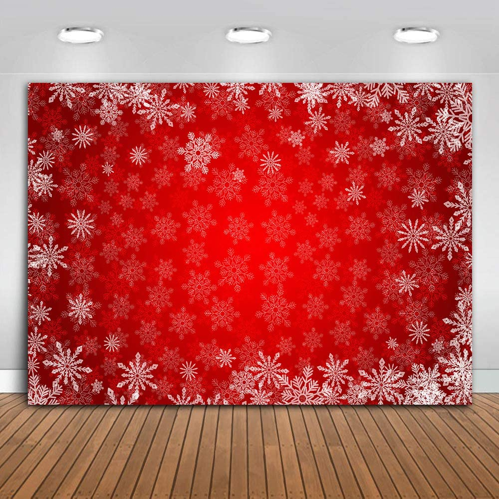 MME 10x7ft Snowflake Christmas Backdrop for Winter New Year Eve Photography Family Party Birthday Glitter Bokeh Sparkle Red Merry Xmas Background Baby Shower Decoration Photo Booth Props HXME745