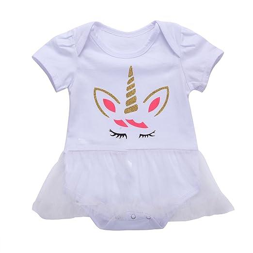 c99f430a7bc6 Honganda Infant Newborn Baby Girls Short Sleeve Unicorn Romper Bodysuit Tutu  Dress (White, 0