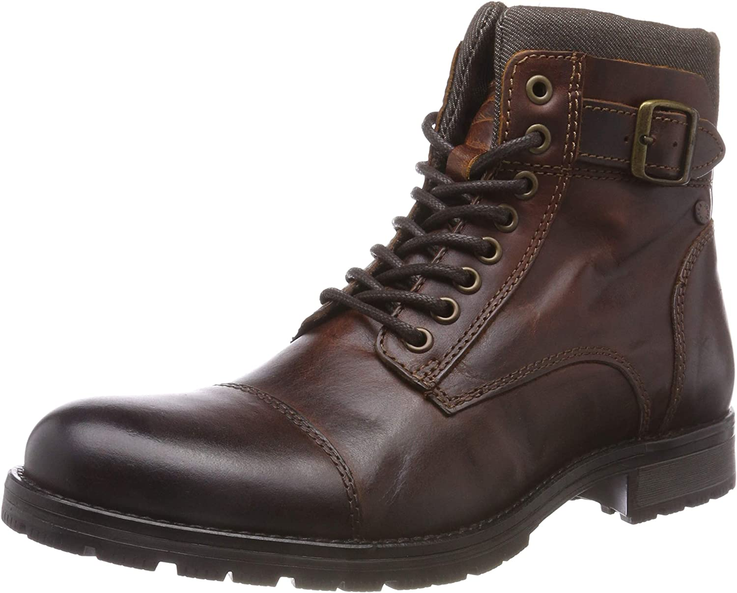 Jack & Jones Jfwalbany Leather Brown Stone STS, Biker Boots para Hombre