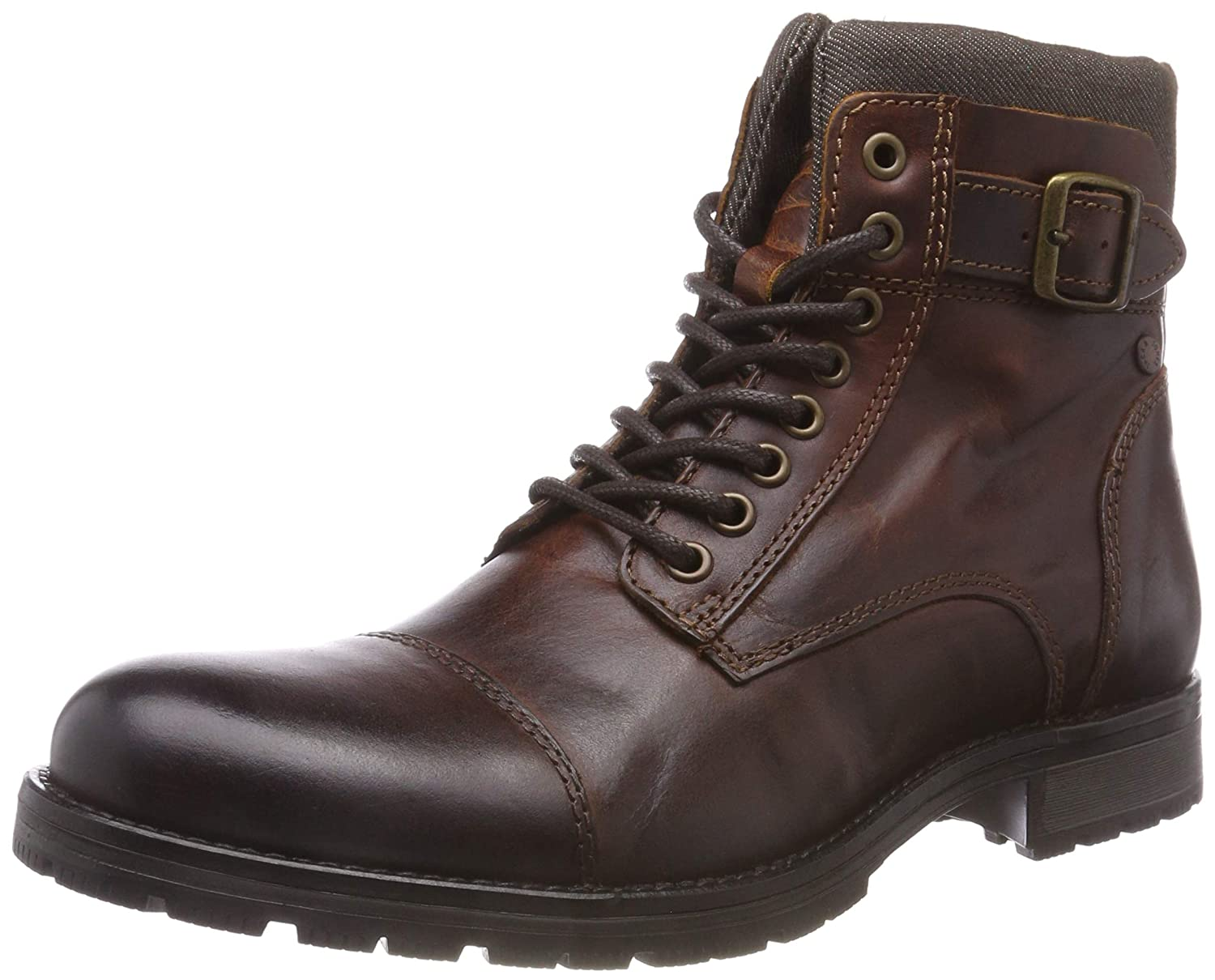 TALLA 42 EU. Jack & Jones Jfwalbany Leather Brown Stone STS, Botas Estilo Motero para Hombre