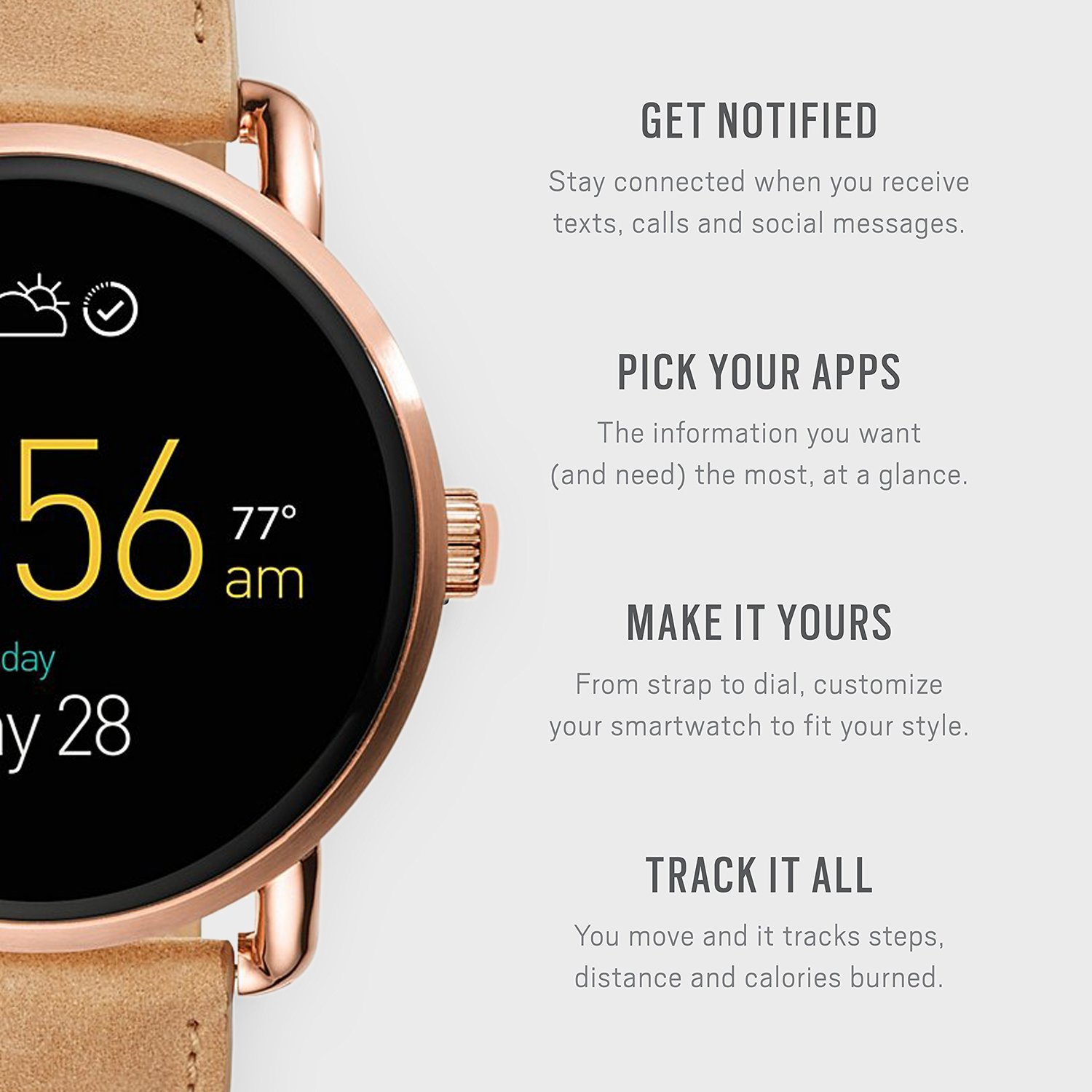 Fossil Q Wander Gen 2 Light Brown Leather Touchscreen Smartwatch FTW2102 by Fossil (Image #3)