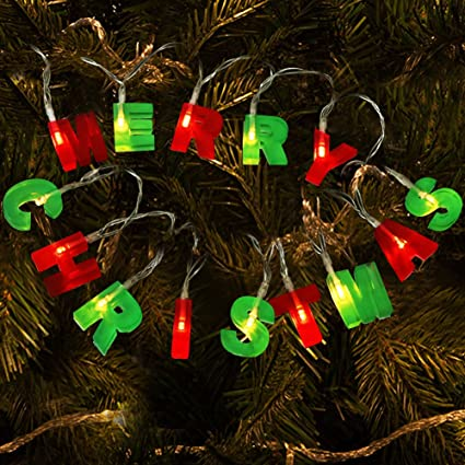 bright zeal led christmas banner merry christmas signs decor battery powered 14 tall red - Outdoor Christmas Tree Decorations
