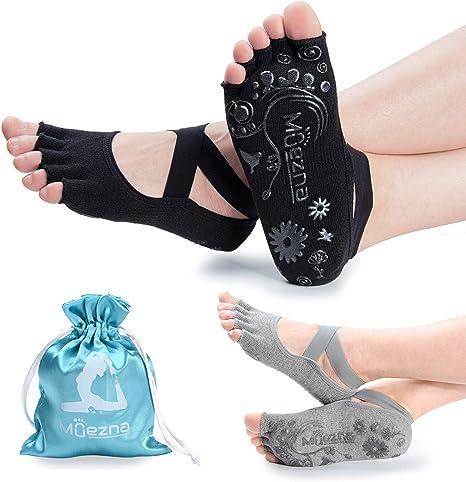 Women Yoga Socks Cotton Anti-slip Soft Grip Toe less Fitness Socks Blue