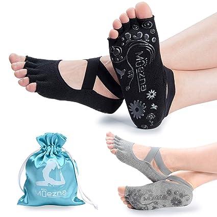 Muezna Calcetines de Yoga Antideslizantes para Mujer, sin ...