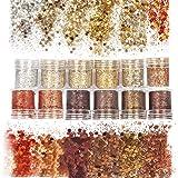 Laza 12 Colors Nail Art Acrylic Nails Glitter Mixed Powder Retro Copper Sequins Iridescent Flakes Paillette Sparkles Tips 120