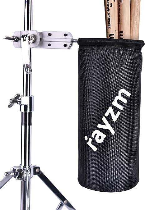 Rayzm Funda/Bolsa para baquetas, Nylon Oxford 1680D con enganche de aluminio para soporte de batería con diámetro de 1,5 a 3 cm. Capacidad de hasta 12 pares de baquetas: Amazon.es: Instrumentos musicales