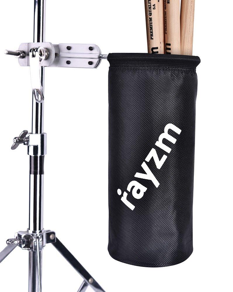Rayzm support de sac pour baguette batterie pôle de diamètre de 1.5-3cm 1680D Oxford Nylon mallet // brosse // batteur Porte-baguette avec une pince en aluminium pour le kit de Batterie et le support de musique diamètre de jusquà 12 paires de baguettes