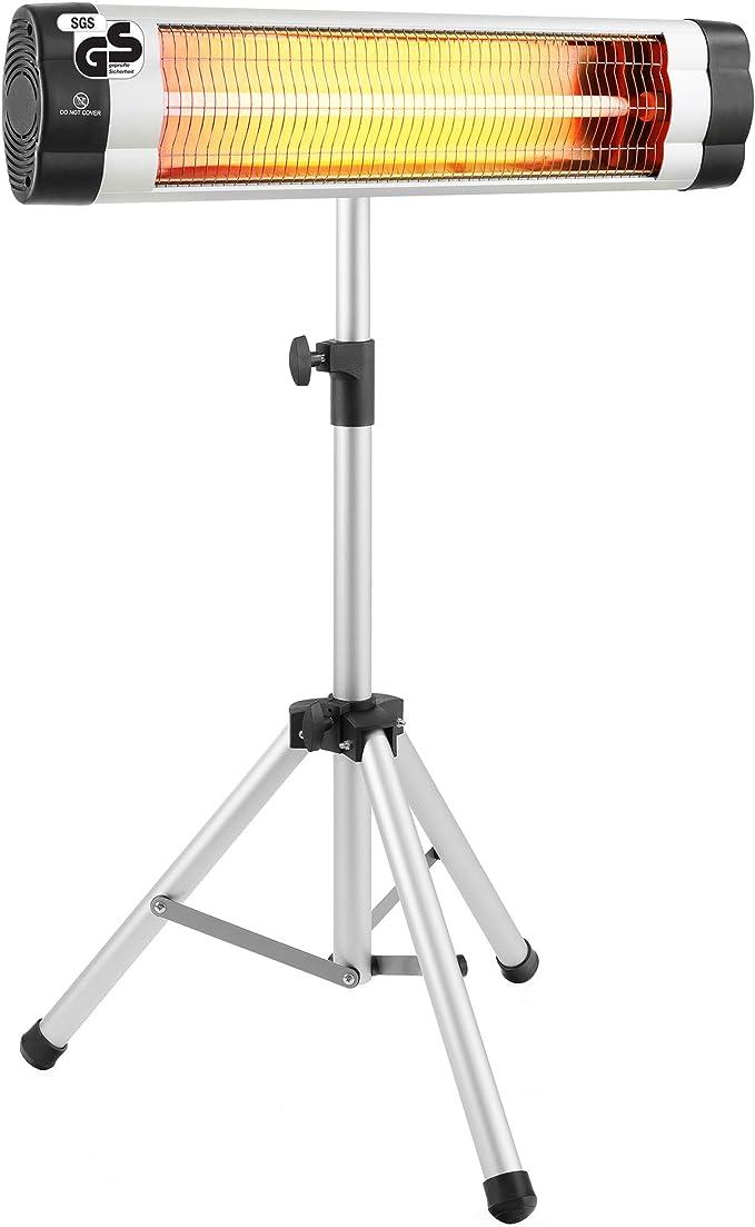 Heizstrahler 2 in1 auch zur Wandmontage geeignet Wickeltisch-W/ärmestrahler mit Splitterschutz und Kipp- Abschaltung Standfu/ß