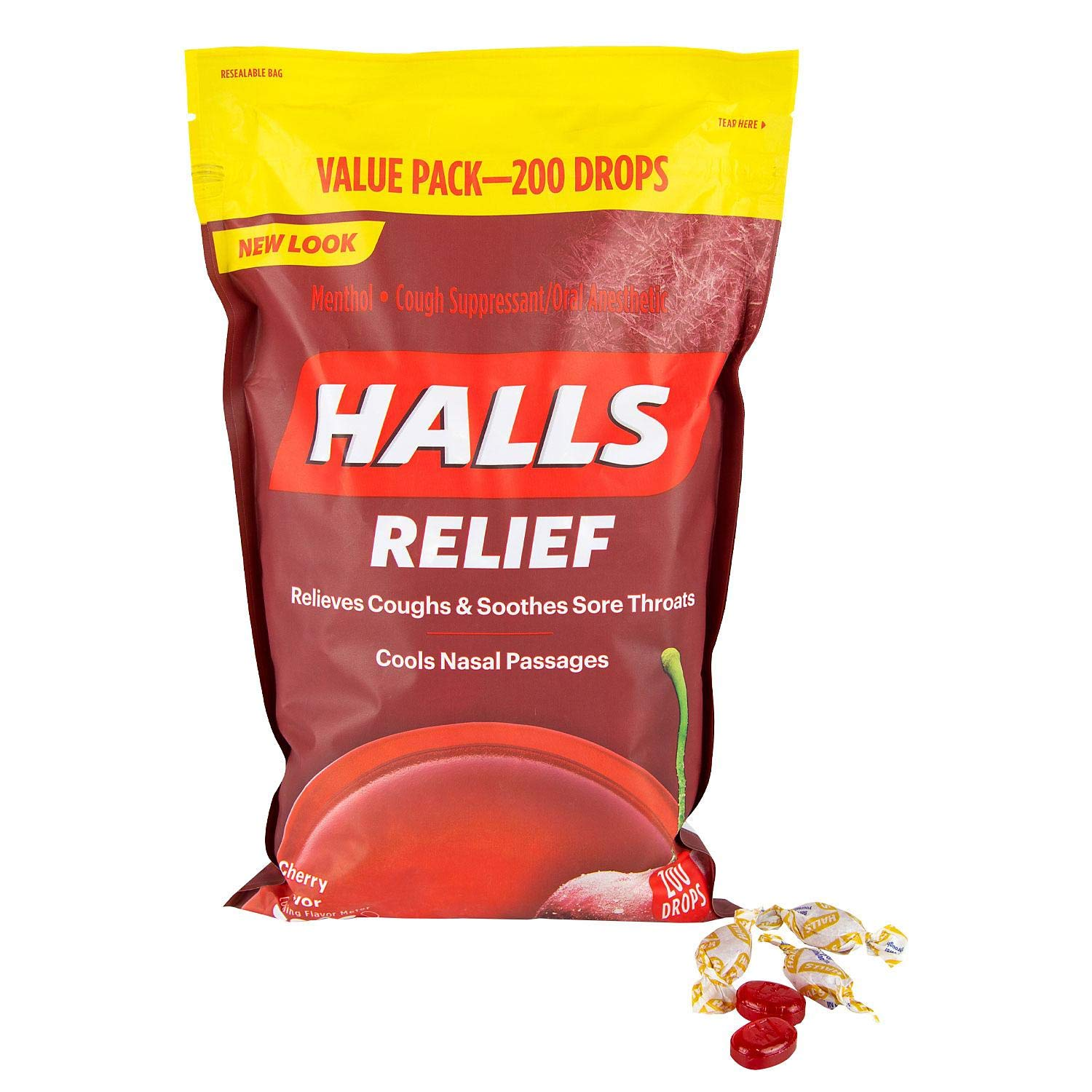 Halls Triple Soothing Action, Cherry, 200 Drops by Halls