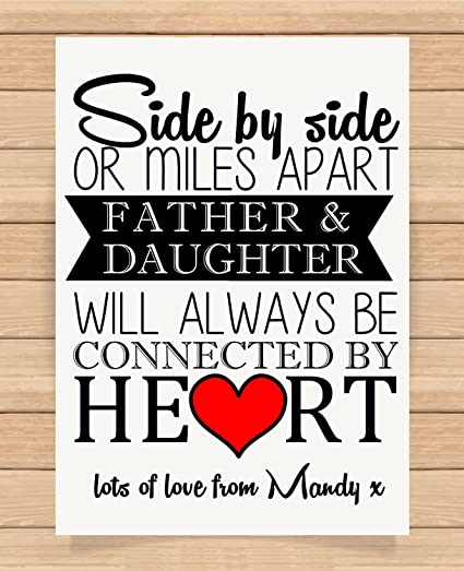 7e3ca3775950 Personalised A4 Size Print Gift for Dad Birthday Fathers Day Gift Father  and Daughter Unique Gift Idea (Unframed)  Amazon.co.uk  Kitchen   Home