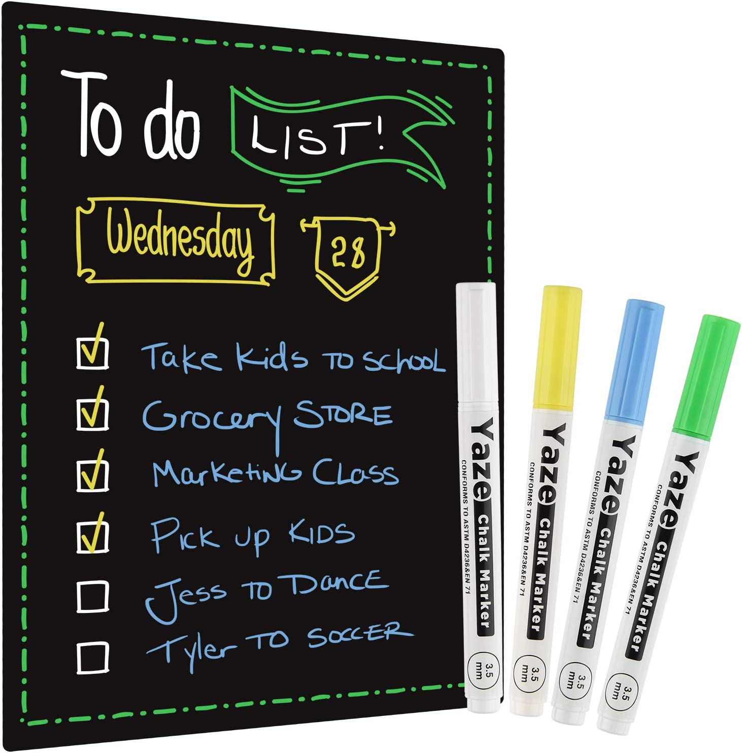 "Magnetic Dry Erase Black Board for Refrigerator with Chalkboard Design - 17x12"" - Includes 4 Chalk Markers - Fridge Whiteboard Planner & Organizer with Strong Magnet - Perfect Magnetic Blackboard"
